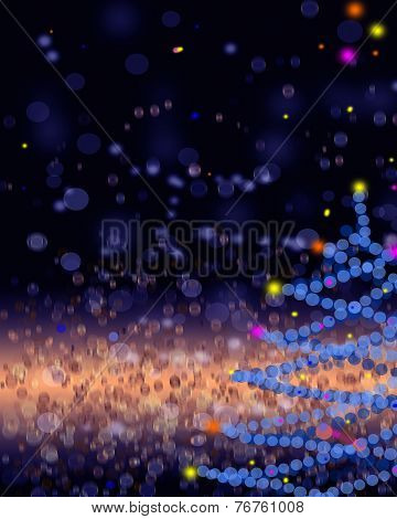 Gold And Blue Elegant Christmas Background With Place For New Year Text