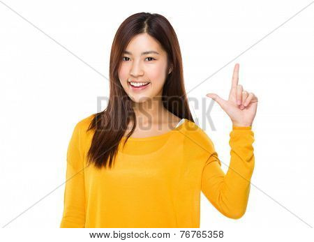 Woman with tick sign