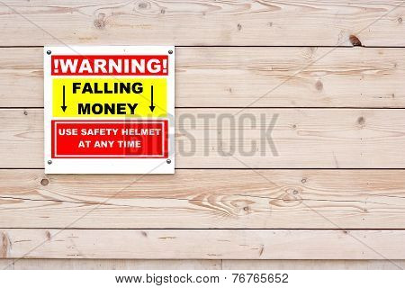 Warning Falling Money Sign