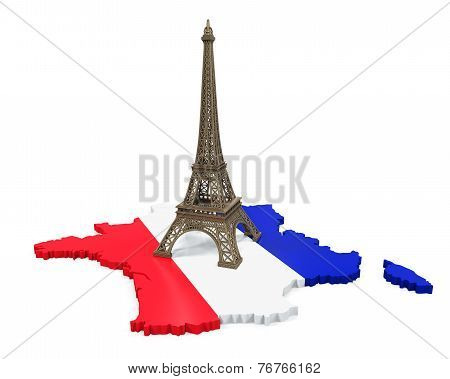 Map of France and Eiffel Tower