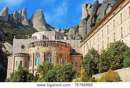 Montserrat Monastery Is A Beautiful Benedictine Abbey High Up In The Mountains Near Barcelona, Spain