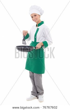 Woman Chef In Uniform Holding Frying Pan - Full Length Isolated On White