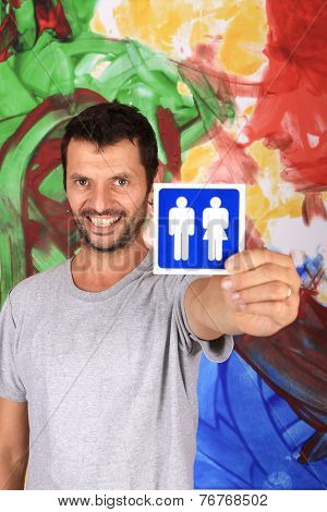 man with wc sign