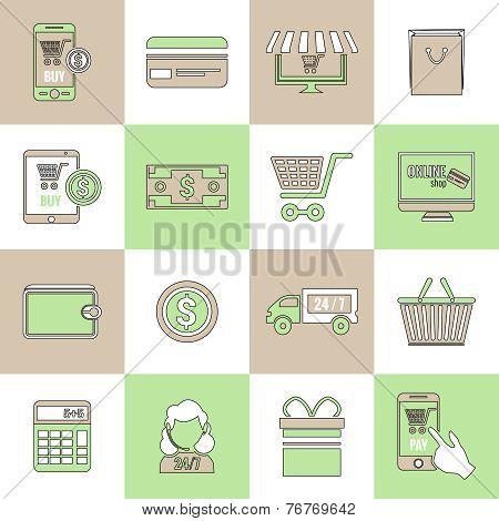 E-commerce icons set flat line