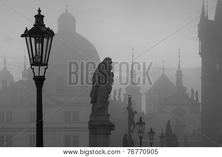 On The Famous Charles Bridge In The Morning Mist, Prague, Czech Republic