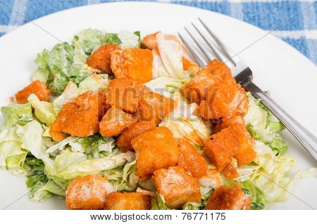 Buffalo Chicken Caesar Salad With Fork
