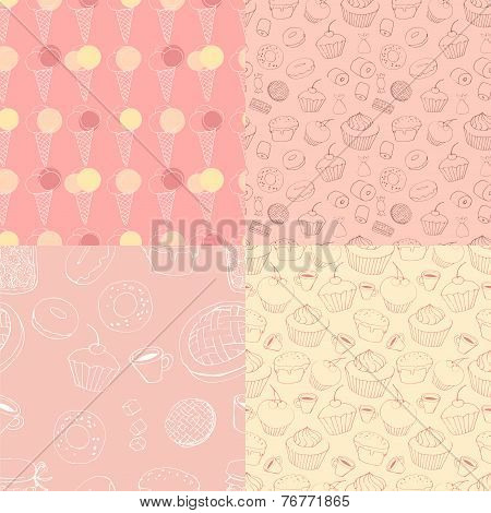 seamless patterns with sweets