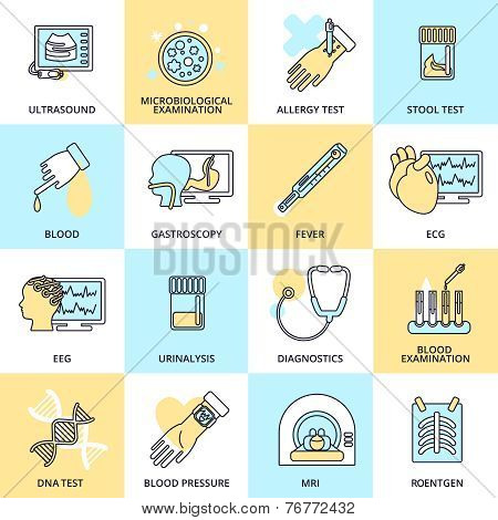 Medical tests icons flat line