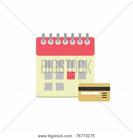 Flat style calendar icon with bank card