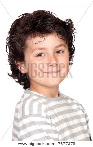 Funny Child With Striped Sweater