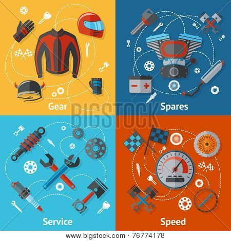 Motorcycle parts flat set