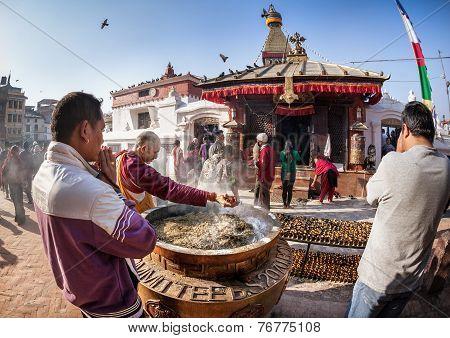 People Praying Near Bodnath Stupa