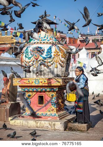 Tibetan Woman Near Bodnath Stupa