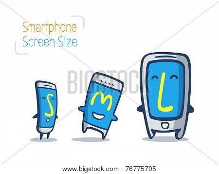 Smart Phone Cartoon Size Comparison