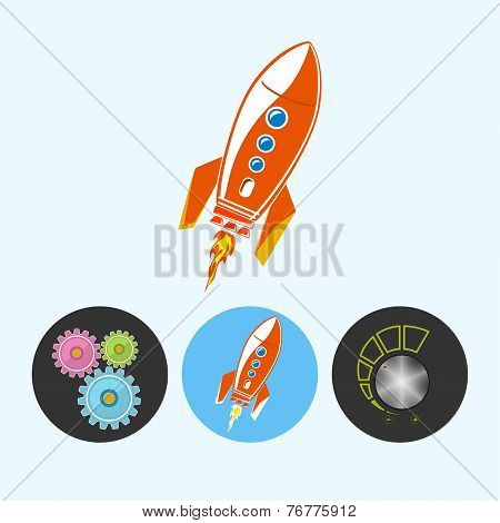 Set Icons With Gears, Rocket , Volume Control , Vector Illustration