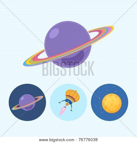 Set Icons With Saturn, Spaceship, Moon, Vector Illustration