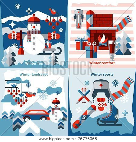Winter flat icons set