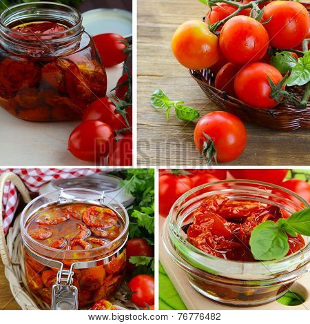 collage of sun-dried tomatoes in a bank and fresh vegetables