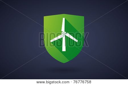 Long Shadow Shield Icon With A Wind Generator