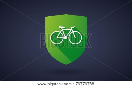 Long Shadow Shield Icon With A Bicycle