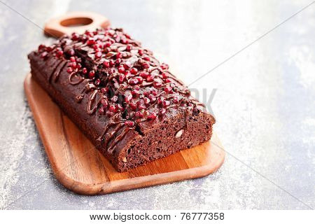 homemade chocolate gingerbread with almonds - sweet food