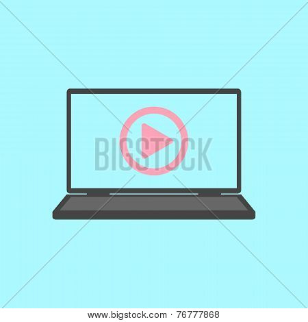 laptop with play icon