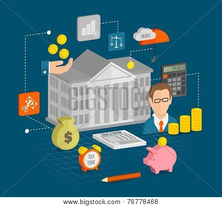 Tax icons isometric