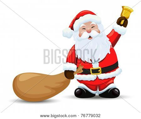 Santa Claus with a bag and  bell. Vector