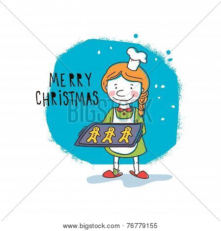 Girl holding Christmas cookies. Vector illustration