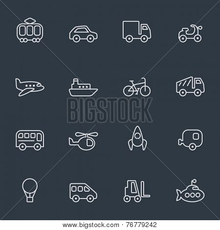 Transport icons, thin line design, dark background