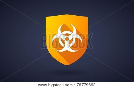 Long Shadow Shield Icon With A Biohazard Sign
