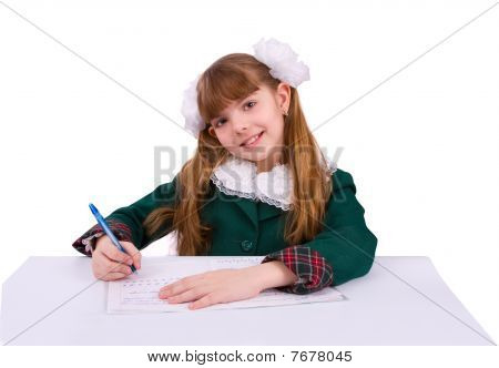 Schoolgirl Doing Her Homework.