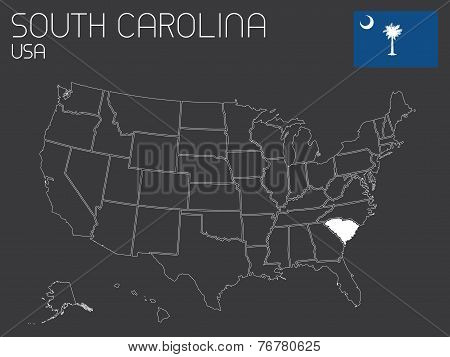 Map Of The The United States Of America With 1 State Selected - South Carolina