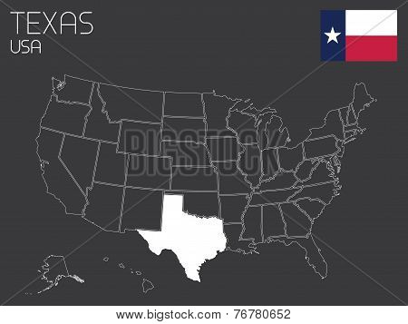 Map Of The The United States Of America With 1 State Selected - Texas