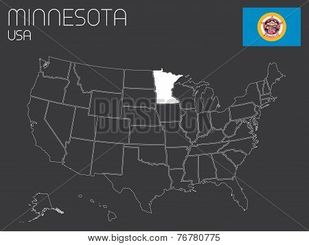Map Of The The United States Of America With 1 State Selected - Minnessota