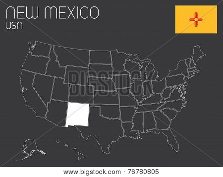 Map Of The The United States Of America With 1 State Selected - New Mexico