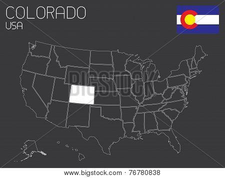 Map Of The The United States Of America With 1 State Selected - Colorado