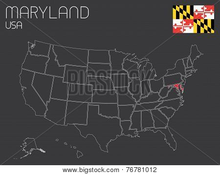 Map Of The The United States Of America With 1 State Selected - Maryland