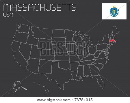 Map Of The The United States Of America With 1 State Selected - Massachusetts