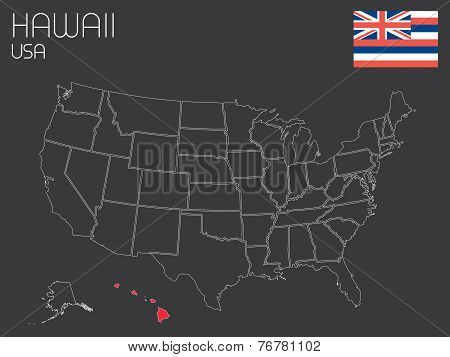 Map Of The The United States Of America With 1 State Selected - Hawaii