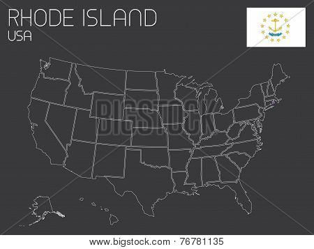Map Of The The United States Of America With One State Selected - Rhode Island