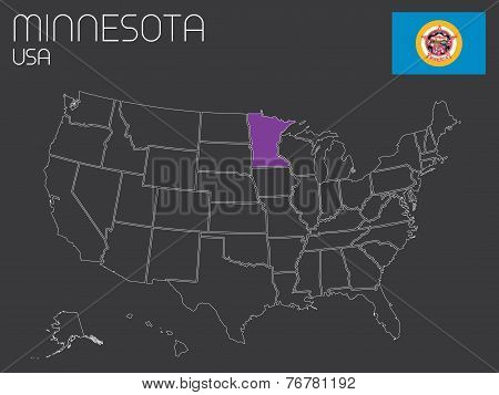 Map Of The The United States Of America With One State Selected - Minnessota