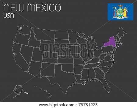 Map Of The The United States Of America With One State Selected - New York