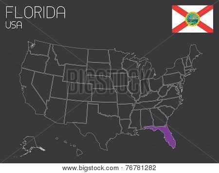 Map Of The The United States Of America With One State Selected - Florida