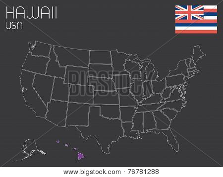 Map Of The The United States Of America With One State Selected - Hawaii