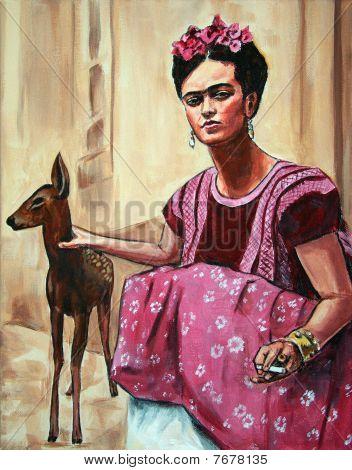 Hispanic Artisan Woman With Deer