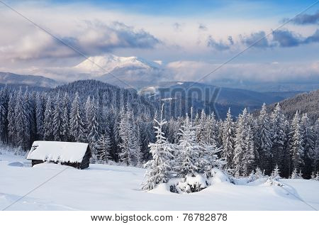 Wooden house in the mountains. Christmas scenery and fresh snow. Cloudy day. Carpathian mountains, Ukraine, Europe