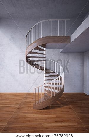 Modern wooden spiral staircase in a house (3D Rendering)