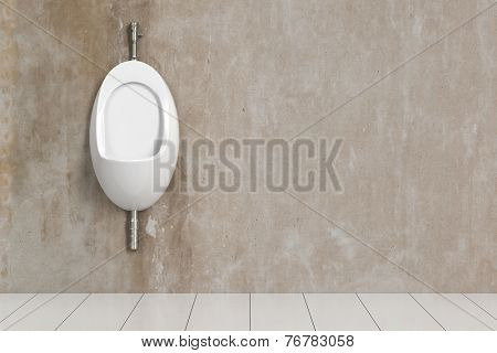 Clean urinal in a public WC on a wall (3D Rendering)
