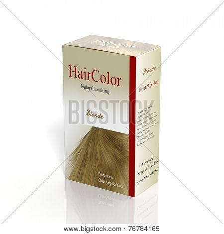 3D Hair Color paper box isolated on white